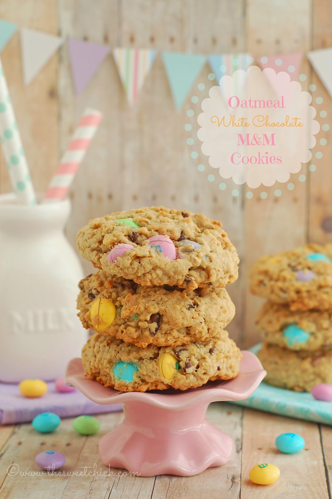 Oatmeal White Chocolate M&M Cookies by The Sweet Chick