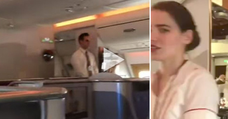 Flight attendant caught recycling an item, captured on cam