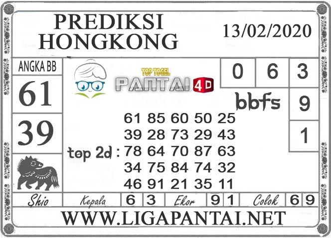 PREDIKSI TOGEL HONGKONG PANTAI4D 13 FEBRUARI 2020