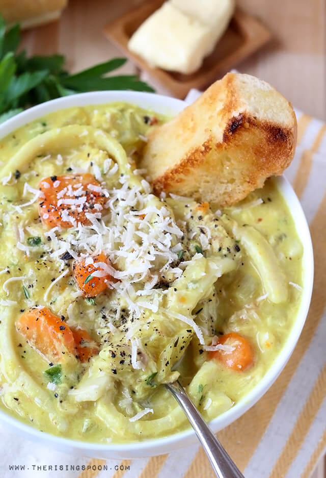 Winter Comfort Food Recipe: Homemade Creamy Chicken Noodle Soup from The Rising Spoon