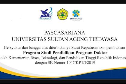 Informasi Mahasiswa Baru Program S3 dan S2 Untirta Tahun 2020