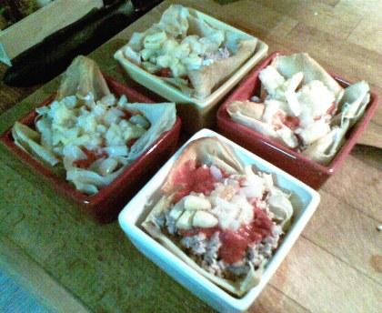 Tuna Feuillantines in the dish