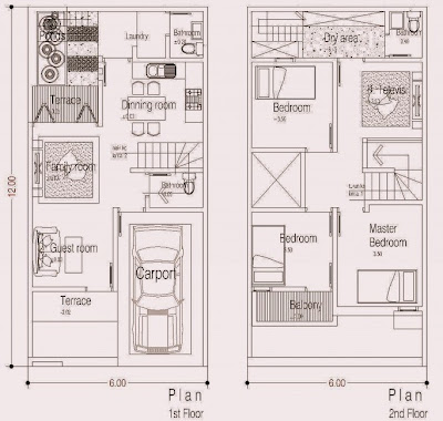 gambar rumah minimalis 2 lantai ukuran 6x12