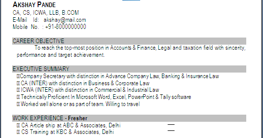 Resume Blog Co Excellent Resume Sample In One Page Of Ca Cs Cma Llb