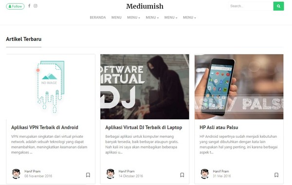 Mediumku Fast Loading Responsive Blogger Templates