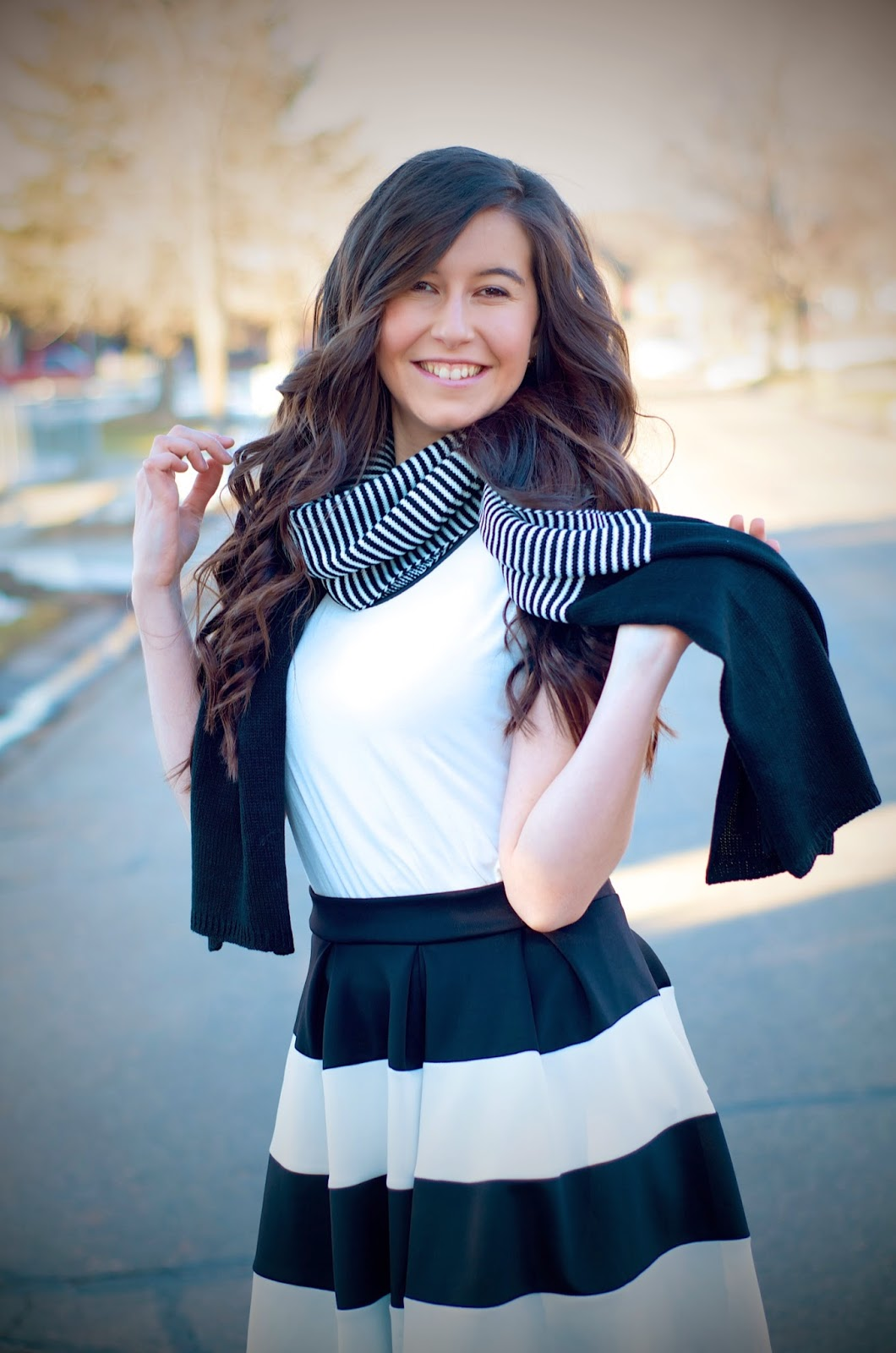 black and white outfit, edward eliason photography, persunmall, persun mall, scarf, black and white scarf, stripes, windsor store, windsor style, striped skirt, fit and flare, fit and flare skirt,