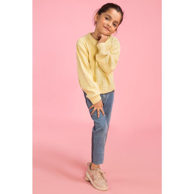 Kids winter collection yellow sweater