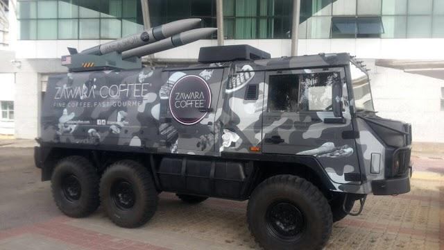 Jual Kopi Guna Kereta Perisai Tentera