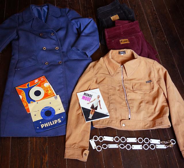 70s coat vintage corduroy pants lady wrangler jacket chain belt 1970s le monde et la mode 1966 crazy girl 1967