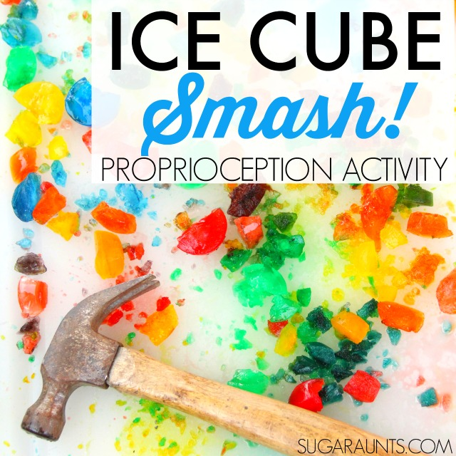 Ice Cube Proprioception and Vestibular Activity for kids that need sensory input. This is fun for typically developing children (and the adults) too!