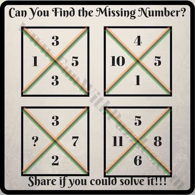 Can you Find the Missing Number? Square 1 Clockwise: 1 3 5 3, Square 2: 10 4 5 1, Square 3: ? 3 7 2, Square 4: 11 5 8 6