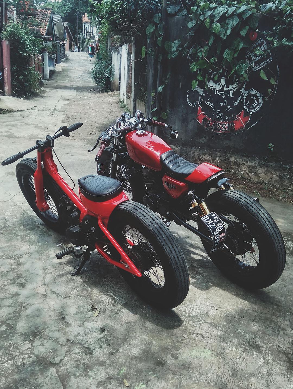 motor custom honda gl max cafe racer dan streetcub