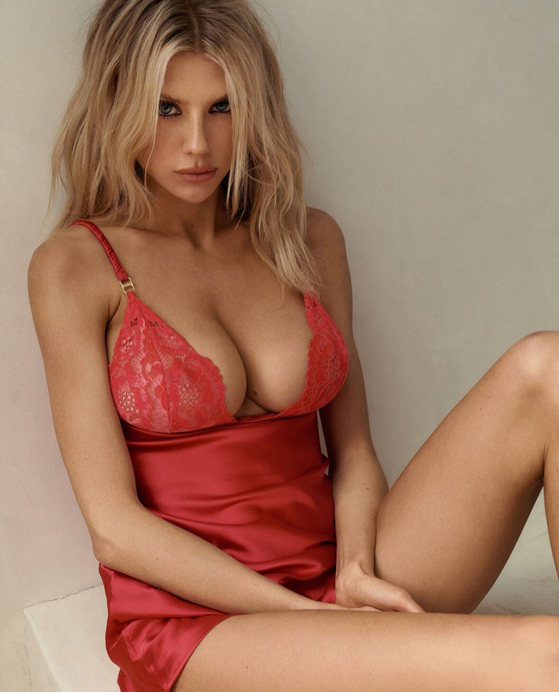 A red-hot lace chemise stands out in La Senza campaign featuring Charlotte McKinney.