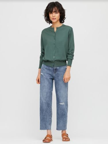 Women's Belted Pleated Jeans uniqlo