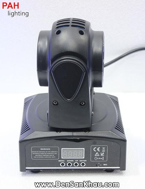 Đèn sẽ chạy và chớp khi nhạc sôi động thông qua bộ cảm ứng âm thanh nhạy bén được tích hợp sẳn trong Zara Moving Head Mini