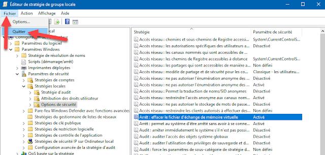 Mots-clés : Windows 10, sécurité, trucs, astuces, fichier d'échange, mémoire virtuelle, arrêt Windows, stratégie groupe locale, effacer, informations confidentielles, système, options de sécurité, effacer le fichier d'échange de mémoire virtuelle
