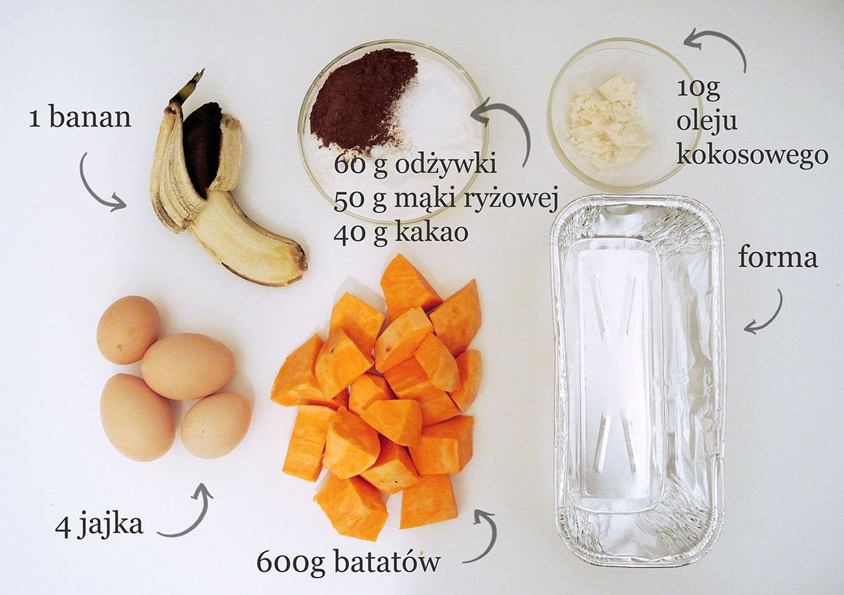 bataty, kakao, jajka, mąka ryżowa, odżywka białkowa, banan