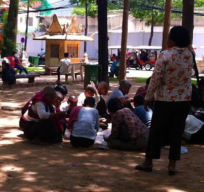 Park around Wat Phnom in Phnom Penh, Cambodia