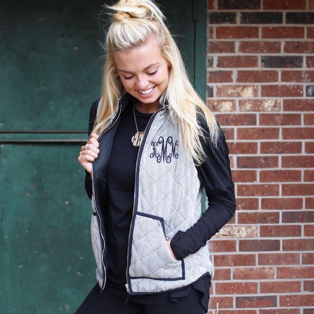 girl wearing personalized black and white herringbone vest