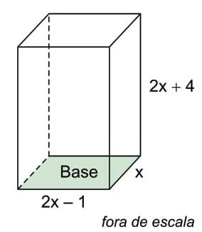 Um recipiente, na forma de um prisma reto de base retangular, tem suas medidas internas, em centímetros, indicadas na figura.
