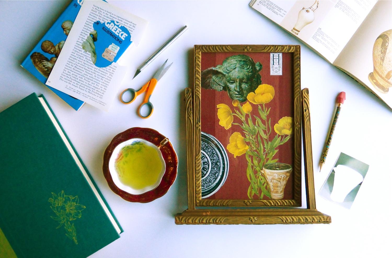 collage, handcut collage, sculptural collage, floral collage, antique frame