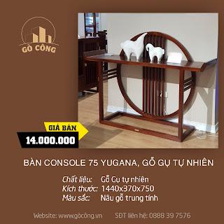 Bàn console 75 Yugana, gỗ gụ tự nhiên