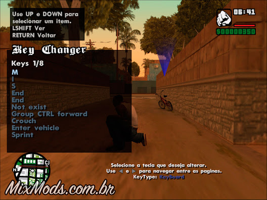 gta sa san in game mod key changer change mudar tecla mods