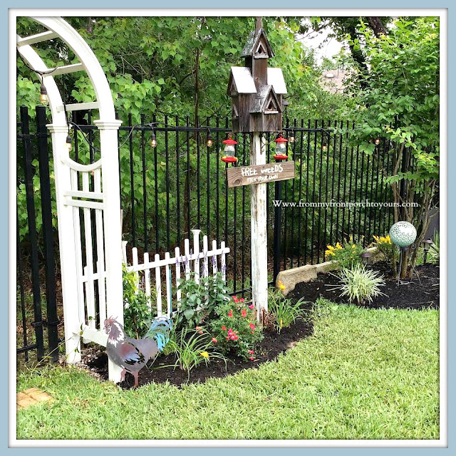 Backyard-English-Country- Garden-DIY-Archway-Picket-FEnce-Day Lilliy-birdhouse-roses-salvia-From My Front Porch To Yours