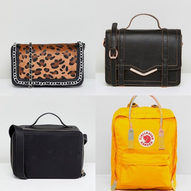 Stradivarius chain detail across body bag with leopard print || v-bar structured satchel bag || Fjallraven Kanken in Warm Yellow || Large Camera Bag