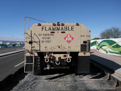Oshkosh U.S. Army Fuel Servicing Truck Tanker Rear View