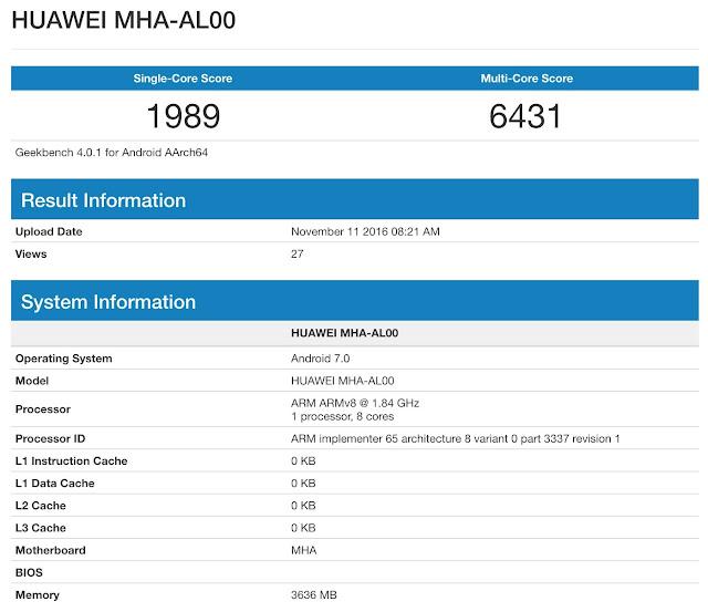 Huawei Mate 9 geekbench