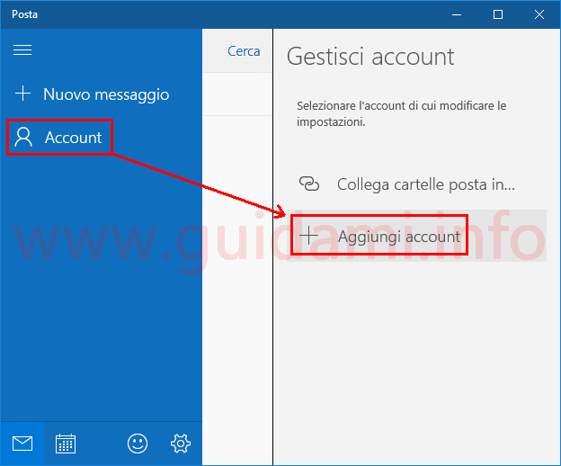 App Posta Windows 10 aggiungere account email