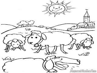 Mewarna Gambar Domba Makan Rumput