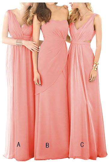 Coral Chiffon Bridesmaid Dresses