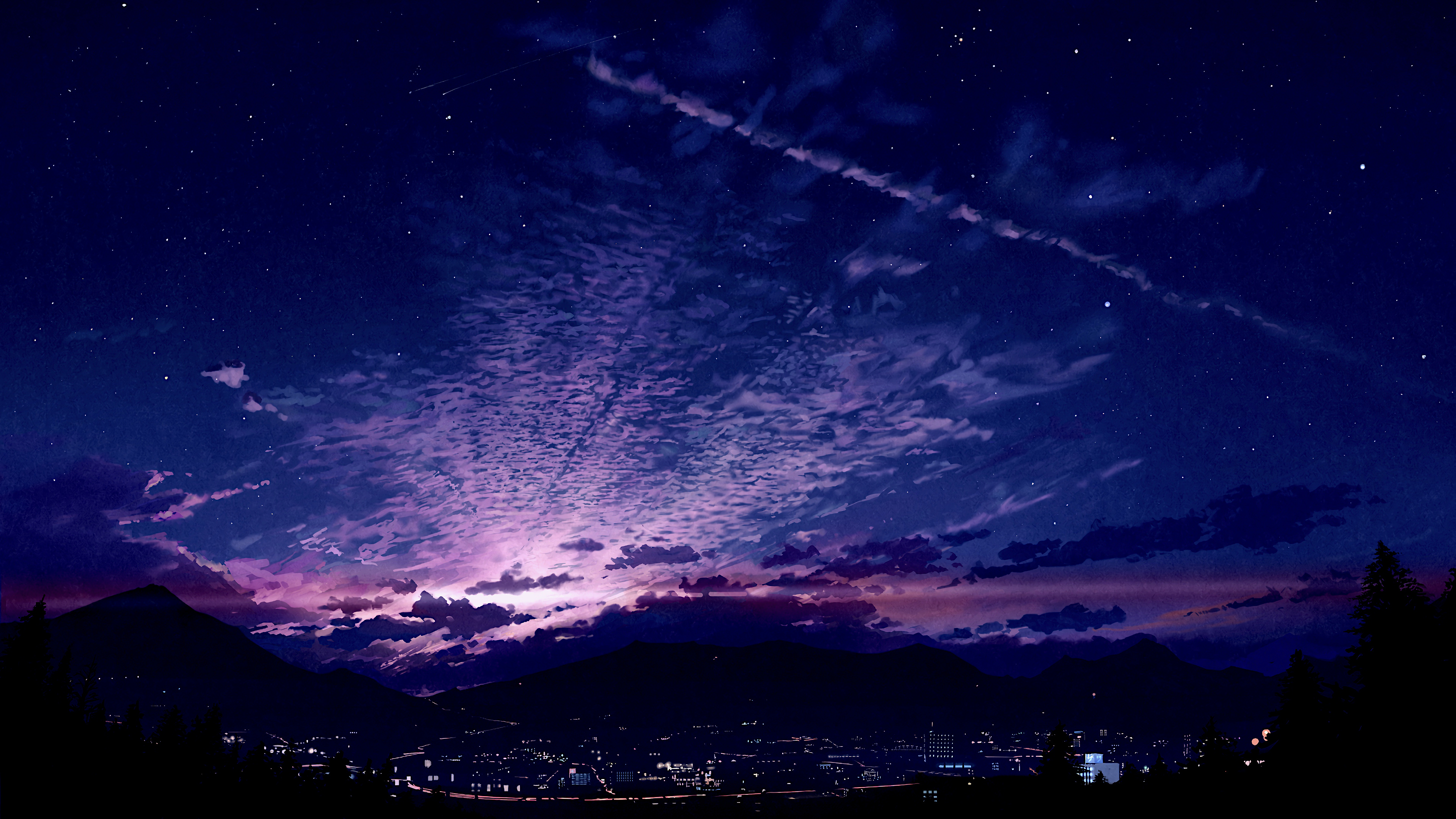 Sunrise City Sky Scenery Anime 4k Wallpaper 128