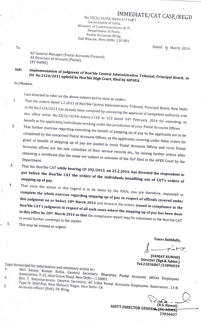PA WING ISSUED ORDERS TO IMPLEMENT THE HON'BLE PR.CAT