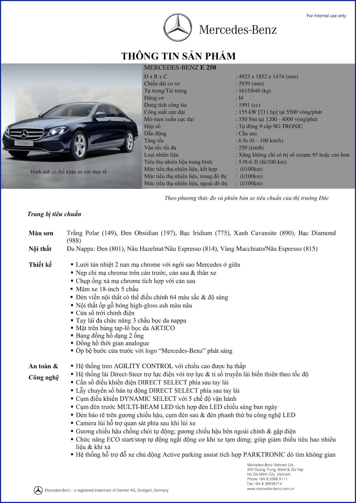 Bảng thông số kỹ thuật Mercedes E250 2017 tại Mercedes Trường Chinh