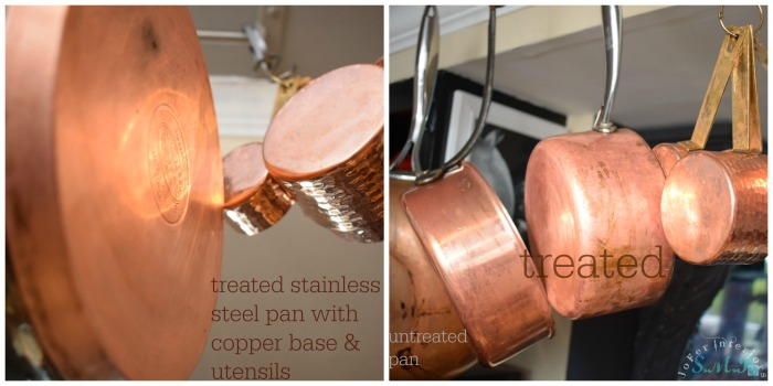 A Copper base cooking pot and Stainless steel cleaned with conventional ketchup