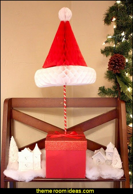 Christmas Honeycomb Santa Hats Paper Santa Claus Hats Christmas Table Centerpiece Christmas Festive Hanging Decorations