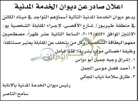 مرشحين للمقابلات الشخصية في ديوان الخدمة المدنية ... اسماء