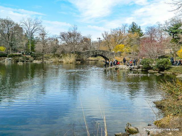 The Pond, lagoa do Central Park, e a Gapstow Bridge, Nova York