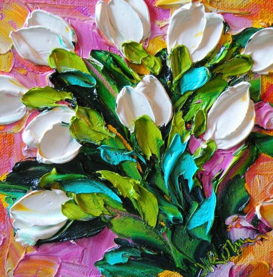 Cuadros pinturas oleos cuadros de flores con relieve - Cuadros y laminas ...