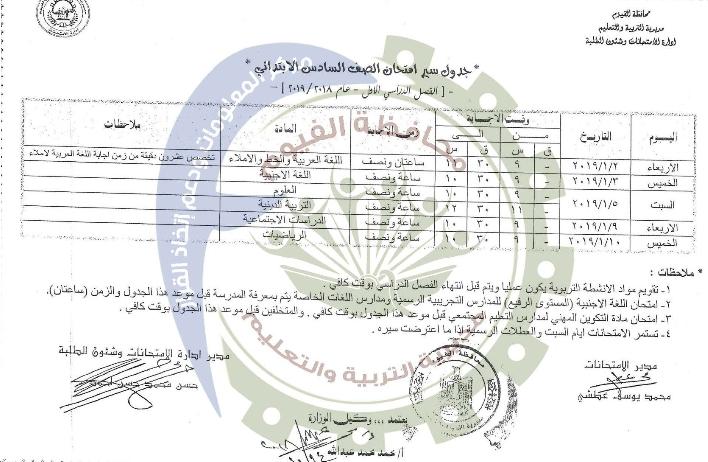جدول امتحانات الصف السادس الإبتدائي الترم الأول 2019 محافظة الفيوم