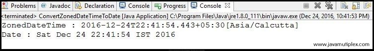 Output of Java program that converts ZonedDateTime to Date.