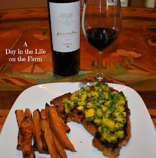 Grilled Steaks with Mango Chimichurri