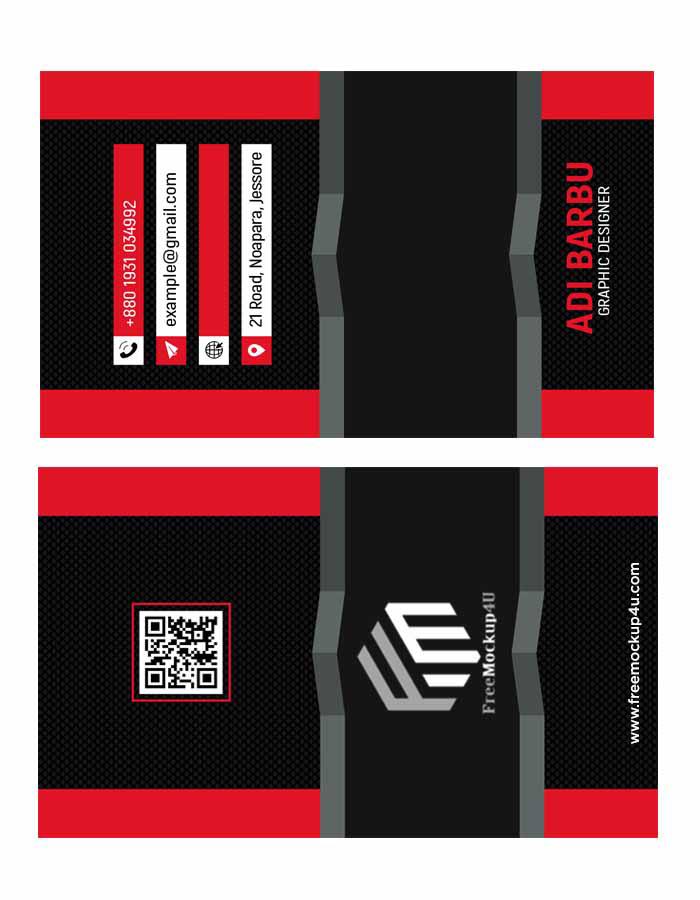 3D Modern Red Visiting Card Design