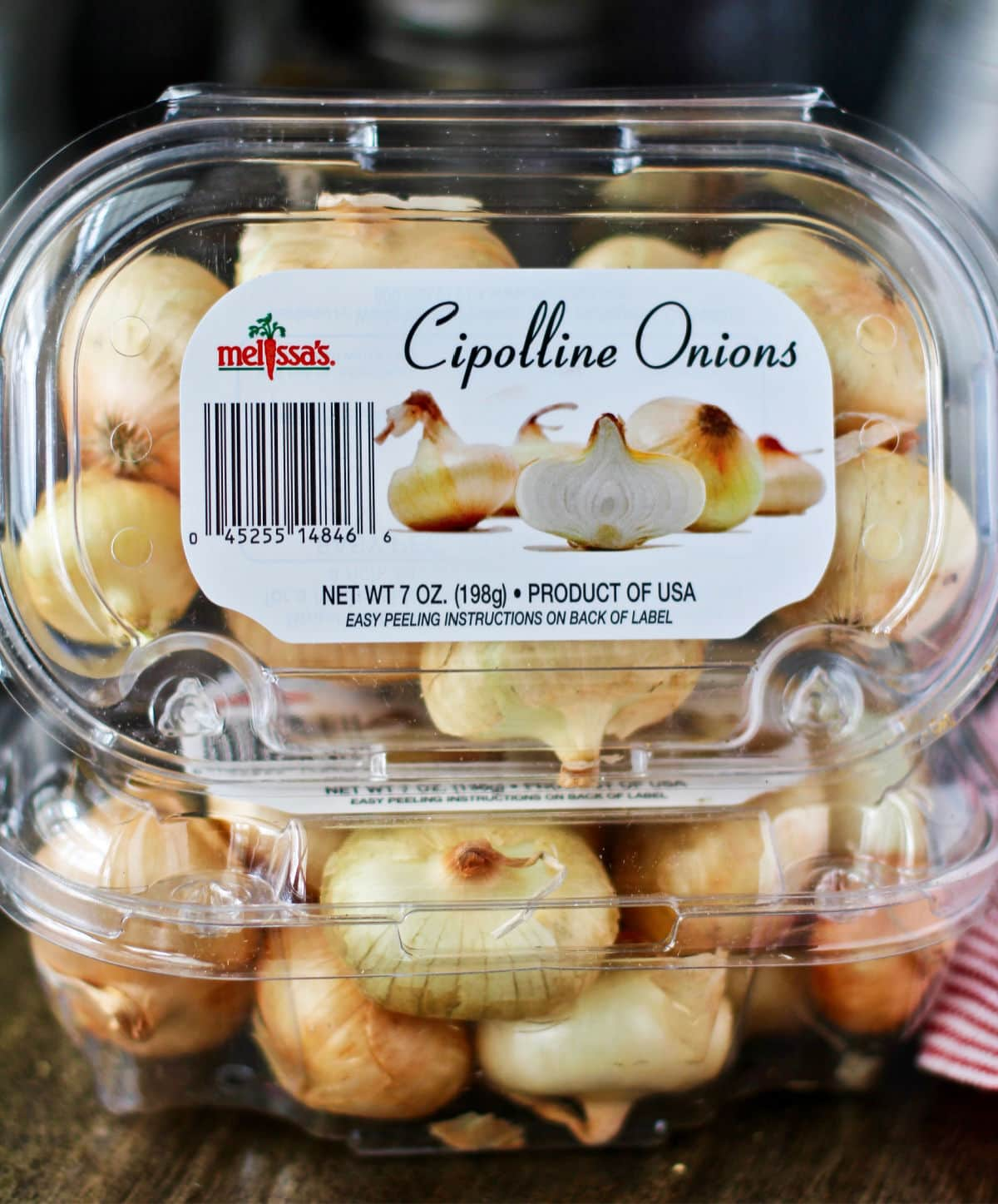 Cipollini onions in package.