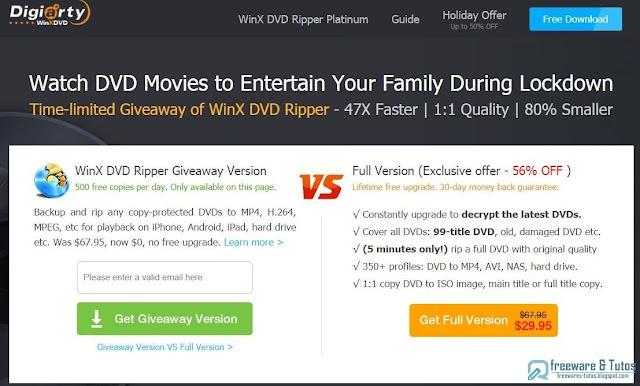 Offre promotionnelle :  WinX DVD Ripper Platinum gratuit pendant une durée limitée !