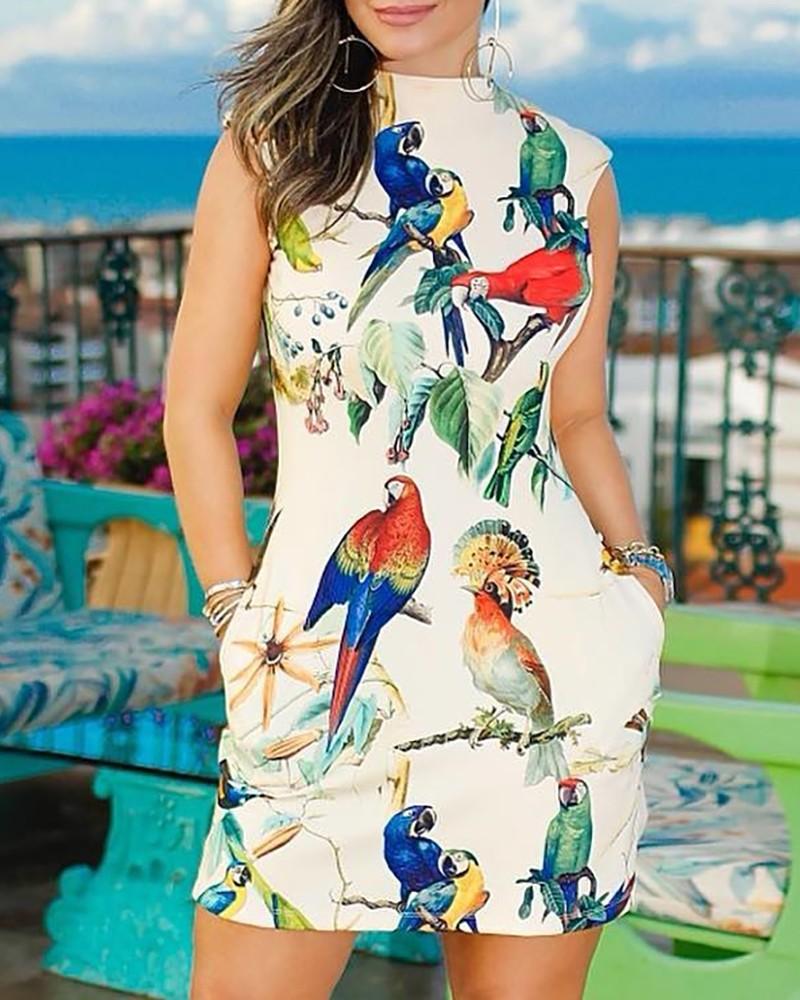 Bird Print Casual Dress