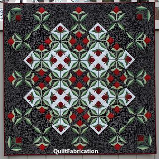APPLIQUE QUILT-ROSE QUILT-BLACK AND WHITE